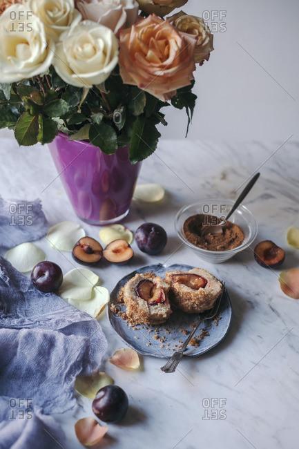 Croatian dessert of potato dumplings with plums
