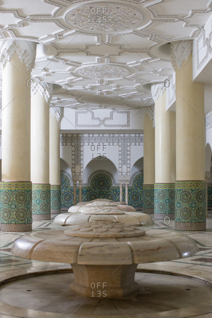 Ablution room with marble lily pads beneath Hassan II Mosque in Casablanca, Morocco.