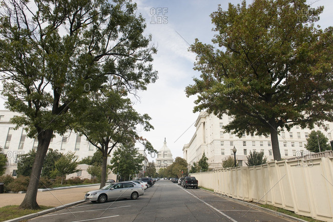 Washington, District of Columbia, USA - September 28, 2012: Street view of the United States Capitol Building.