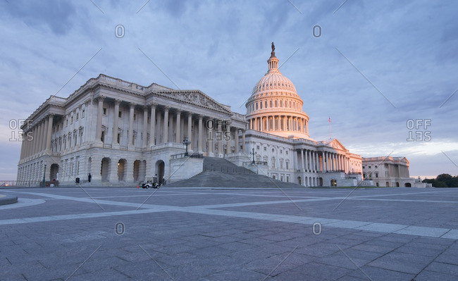 Sunrise at the United States Capitol Building in Washington, District of Columbia.