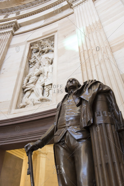 Washington, District of Columbia, USA - October 10, 2012: George Washington statue inside the United States Capitol Building dome.