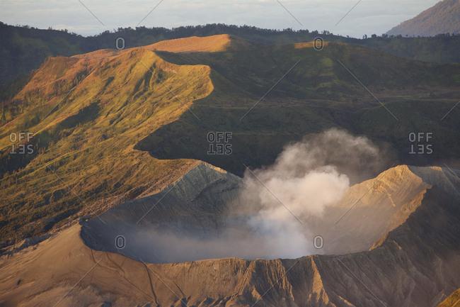 View of Active Mount Bromo volcano inside the Tengger Caldera.