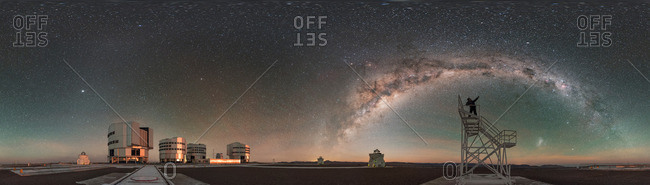 360-degree panorama of Milky Way at moonrise above Paranal Observatory in the Atacama Desert, Chile.