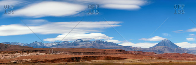 Lenticular clouds above Licancabur and Sairecabur volcanic group bordering Chile and Bolivia.