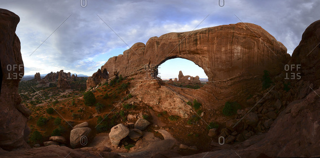 Turret Arch through North Window Arch at Arches National Park.