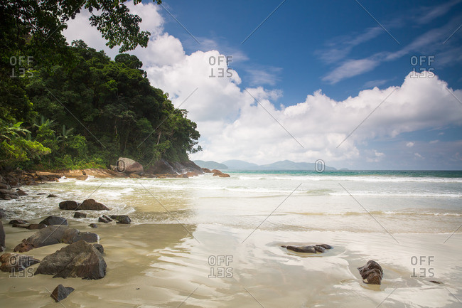 Praia Brava da Fortaleza beach in the Atlantic rainforest, Serra do Mar State Park, Brazil.