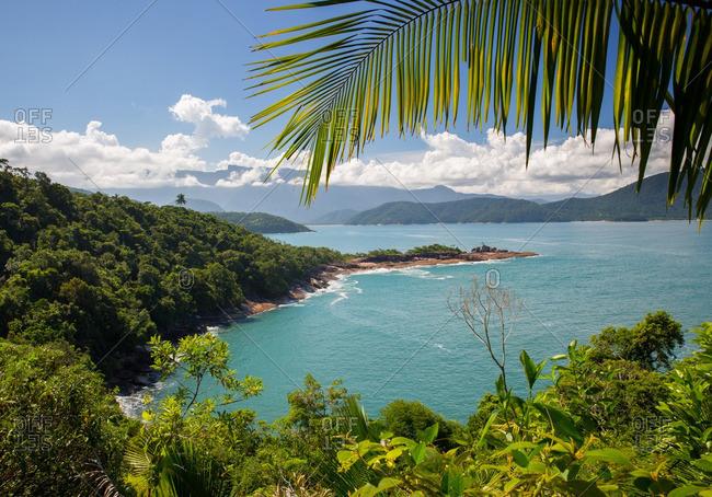 Praia da Fortaleza beach in the Atlantic rainforest in Serra do Mar State Park in Ubatuba, Brazil.