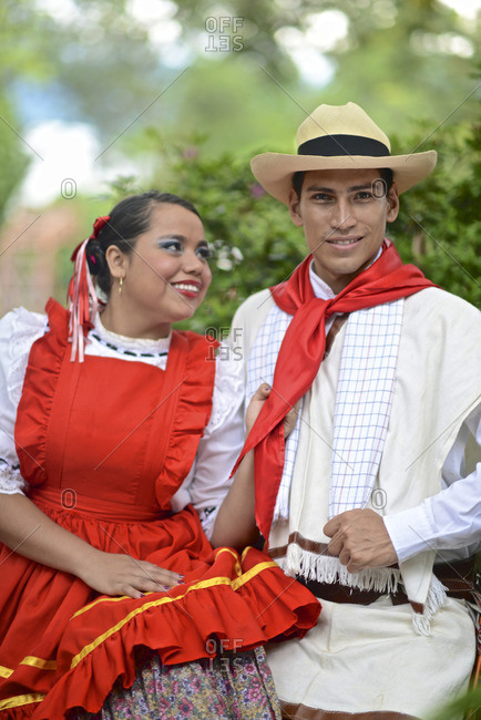 A couple wearing traditional attire from the Colombian region of Antioquia.