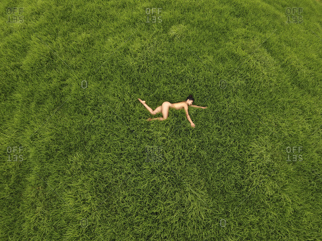 A nude woman resting in the grass.
