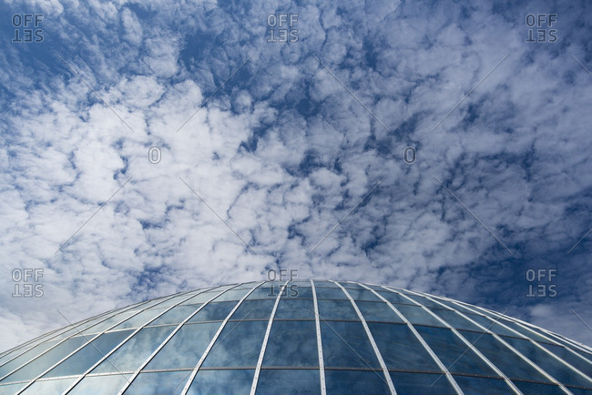 The Perlan and Saga Museum dome against the sky in Reykjavik, Iceland.