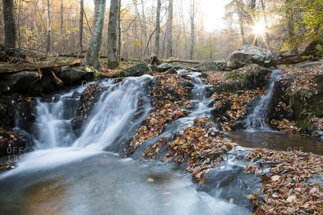 The sun bursts through colorful autumn foliage and a waterfall meanders around rocks along Dark Hollow Falls Hiking Trail in Shenandoah National Park.