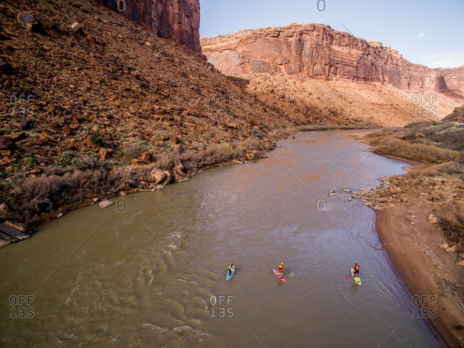 Paddleboarders on the Colorado River.
