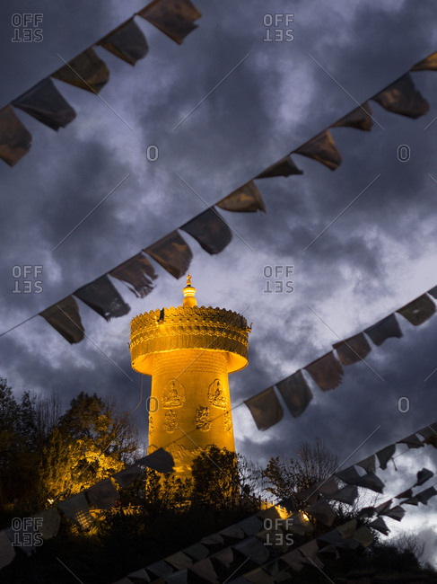Prayer wheel at a Tibetan Buddhist Temple In Dukezong, Yunnan Province, China.