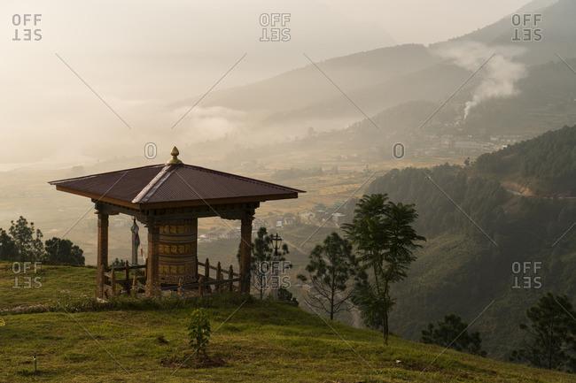 View of Sangchhen Dorji Lhuendrup nunnery in Punakha, Bhutan.