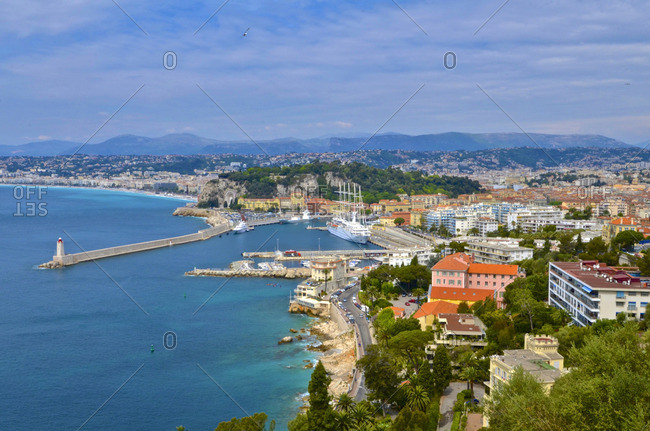 The coastline of Nice, France.