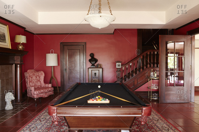 February 1, 2008: Red billiards room in an upscale home