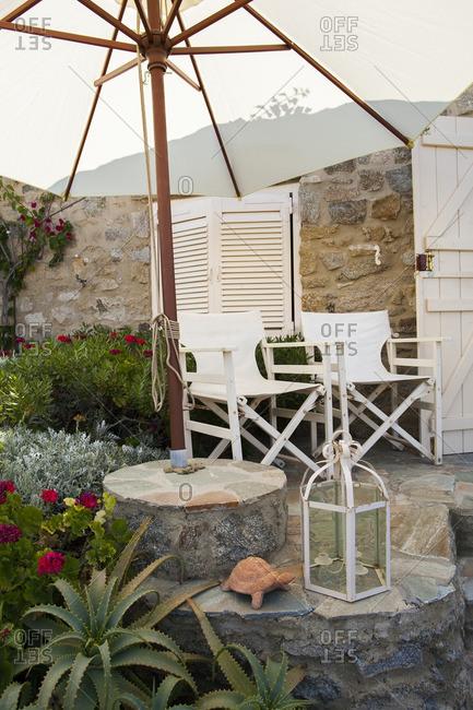 Chairs in garden