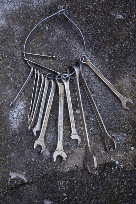 Old wrenches on a ground
