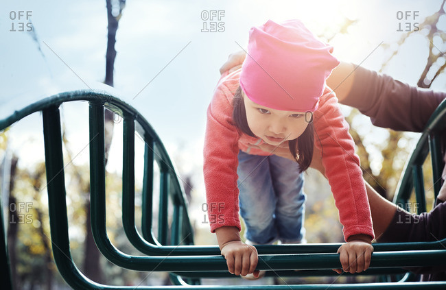 Father and daughter at playground