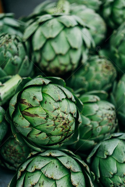 Whole artichokes in close up