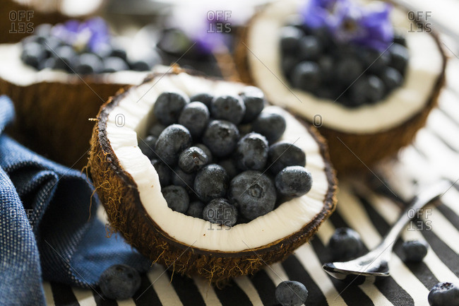 Fresh blueberries in halved coconuts