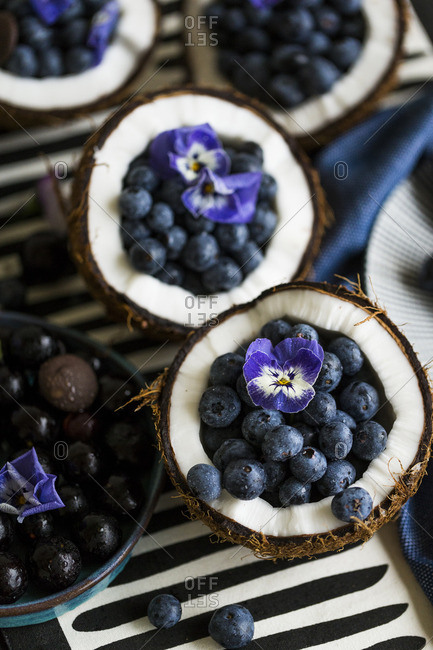 Ripe fresh blueberries served in a halved coconut