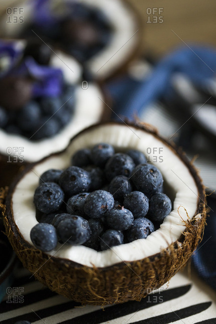 Fresh coconut half filled with ripe blueberries