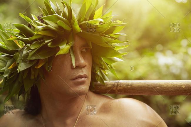 Hawaiian man in traditional headgear