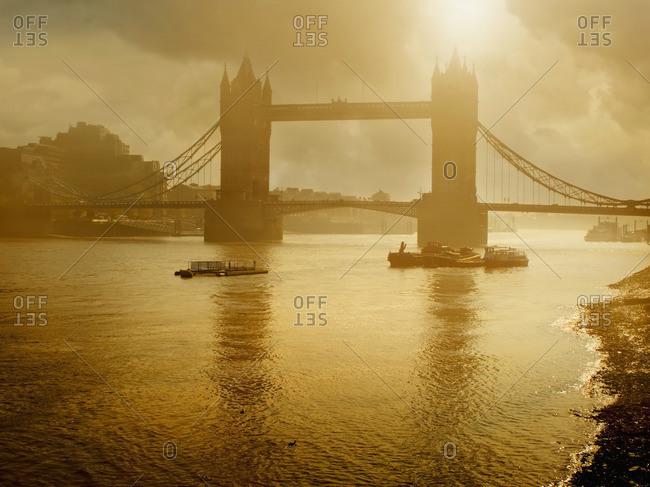 Silhouette of Tower Bridge, London, England