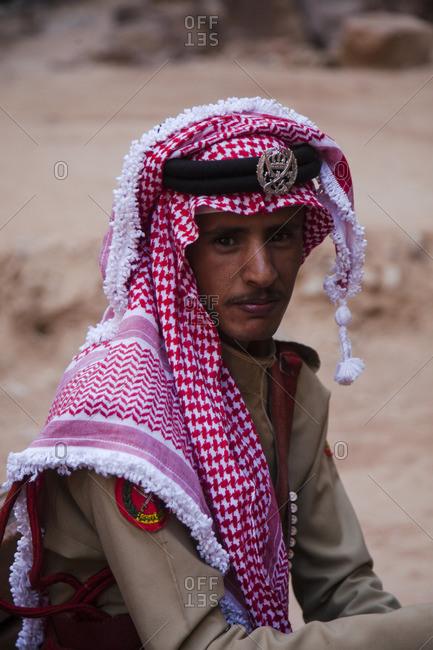 Petra, Jordan - May 31, 2015: Portrait of a Bedouin officer
