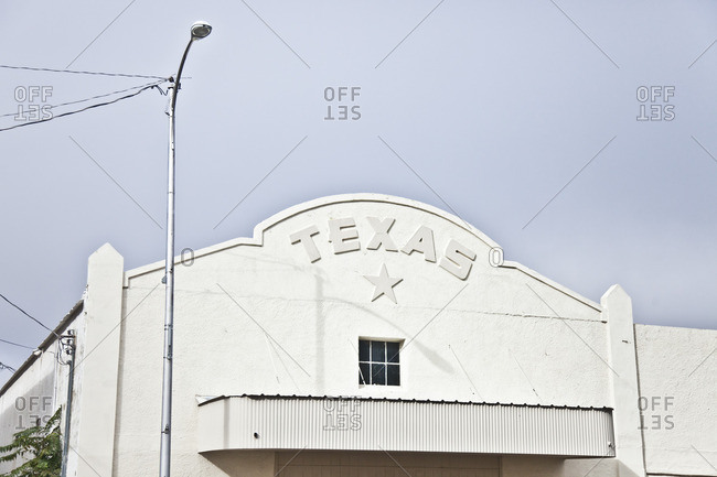 White building with Texas and a stare on the exterior, Marfa, Texas