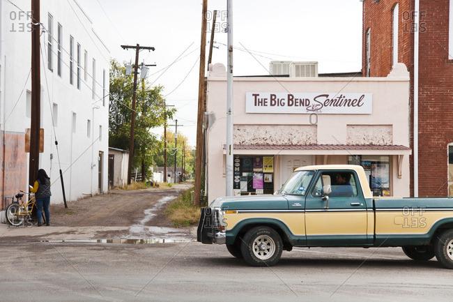 Marfa, Texas - October 23, 2014: Street scene in Marfa, Texas