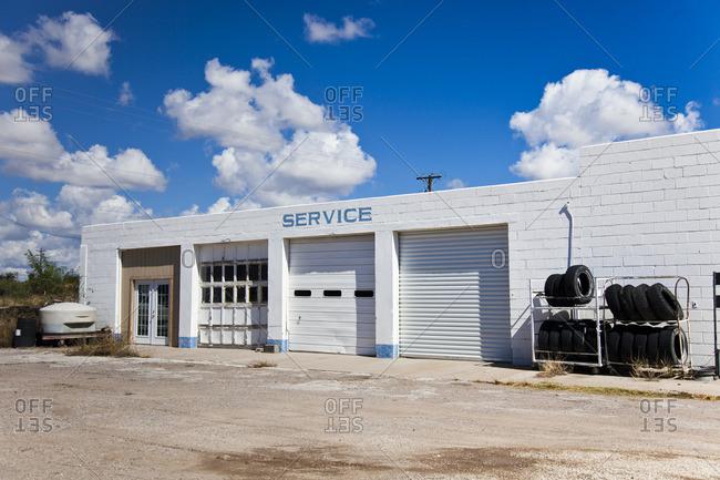 Marfa, Texas - October 23, 2014: Exterior of an auto service shop in Marfa, Texas