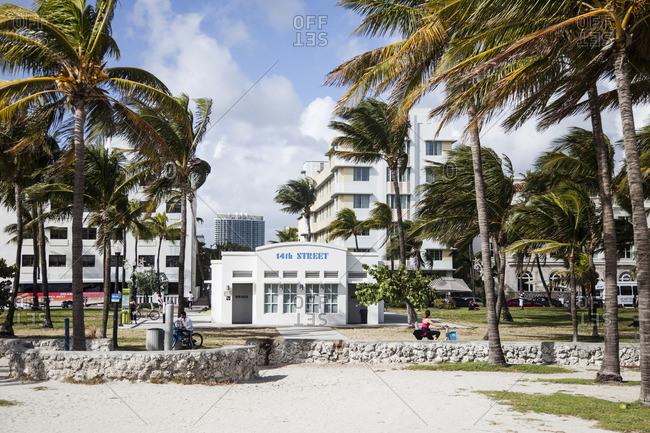 Miami Beach, Florida - December 2, 2012: 14th street bathroom facility in Miami Beach