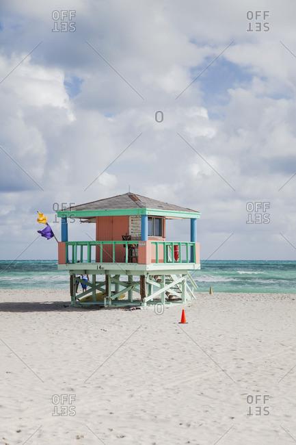 Lifeguard station on Miami Beach, Florida