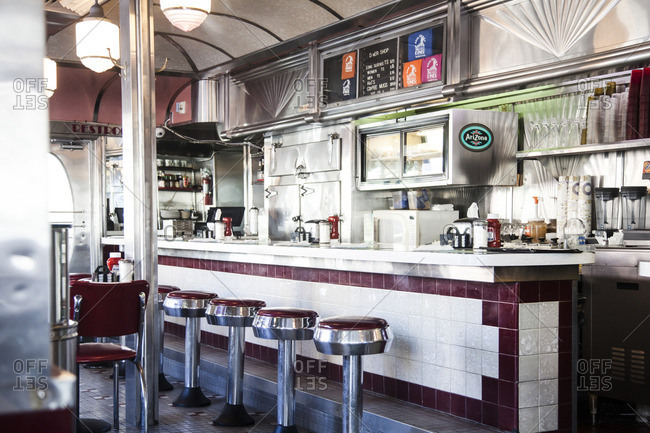 Miami Beach, Florida - December 3, 2012: Interior of 11th street diner in Miami Beach