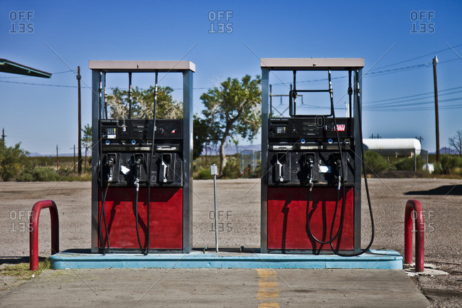 Pumps at a gas station in Santa Fe, New Mexico