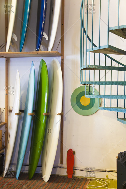 Surfboards on display inside a surf shop in San Francisco, California