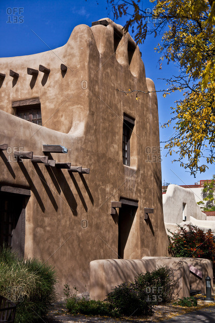 Pueblo revival style home exterior in Santa Fe, New Mexico