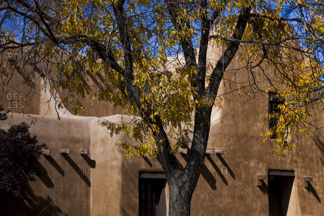 Pueblo revival style home in Santa Fe, New Mexico