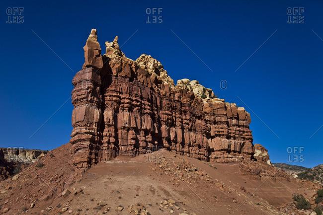 Rock formation in the desert in Santa Fe, New Mexico