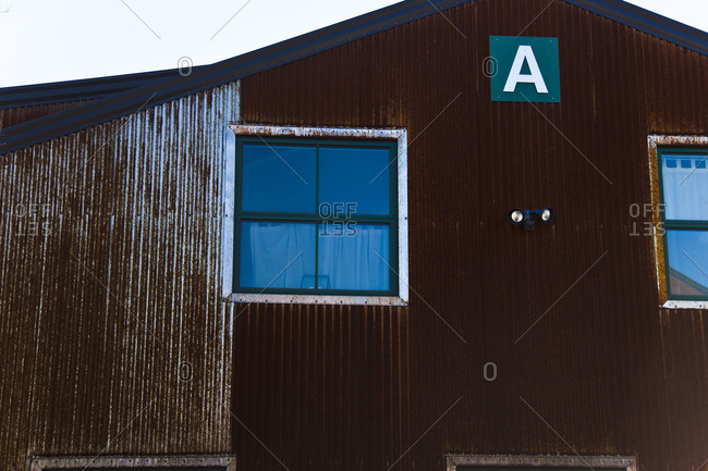 Building with rusty corrugated metal siding in Santa Fe, New Mexico