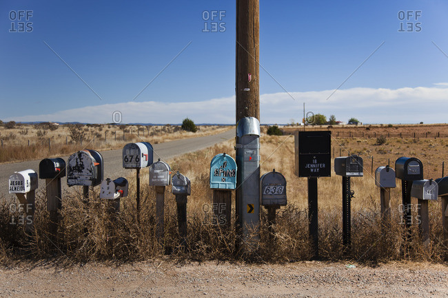 Santa Fe, New Mexico - October 27, 2014: Mail boxes on a desert road in New Mexico