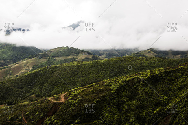 Forest covered mountains in Sa Pa, Vietnam