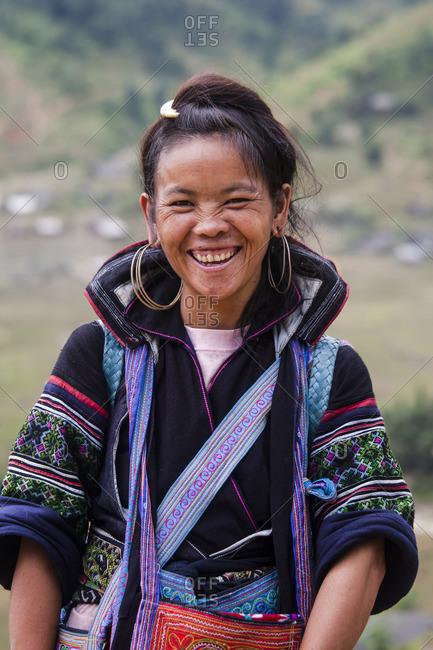 Sa Pa, Vietnam - September 27, 2008: Portrait of a smiling woman