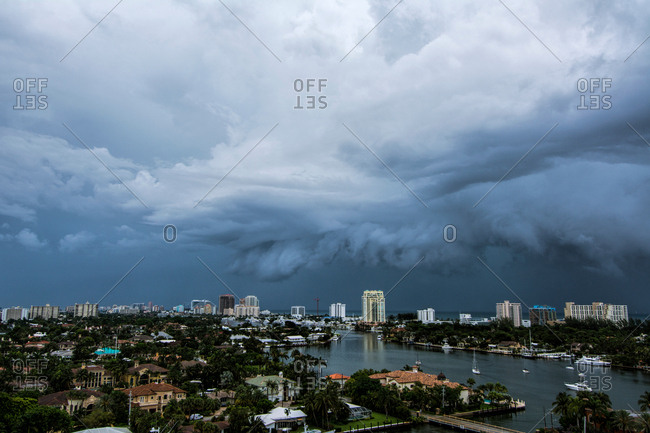 A thunderstorm moving over the Intracoastal Waterway and out to sea at Fort Lauderdale, Florida