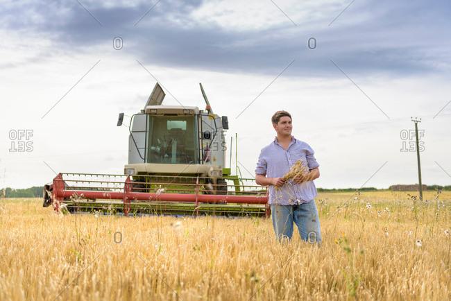 Farmer holding sheaf of organic barley in field