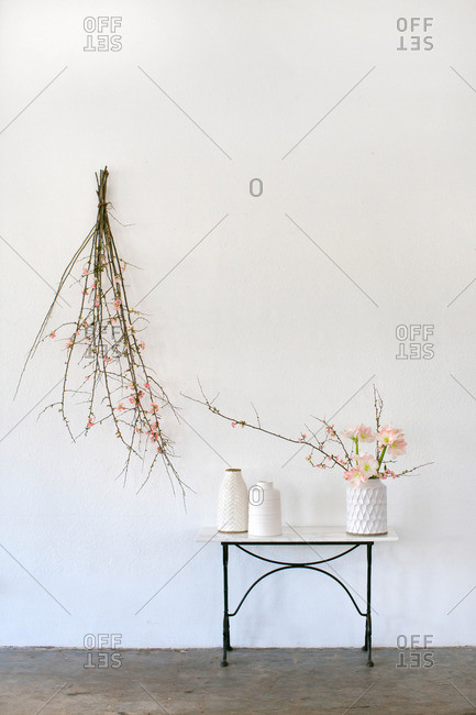 Table and floral branches