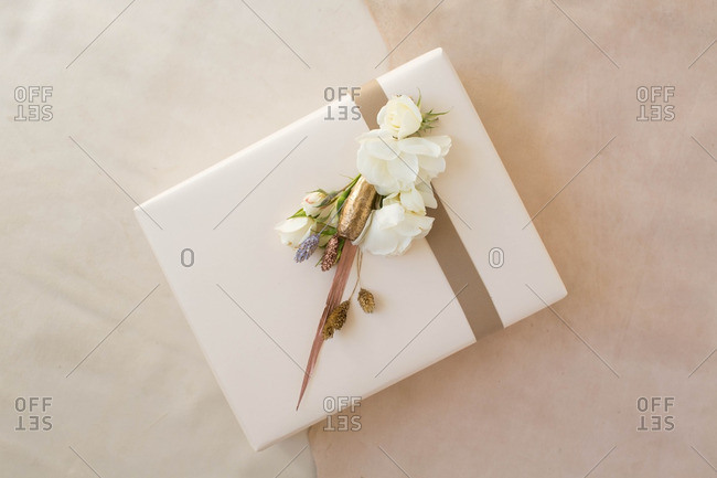 Craft flowers on gift box