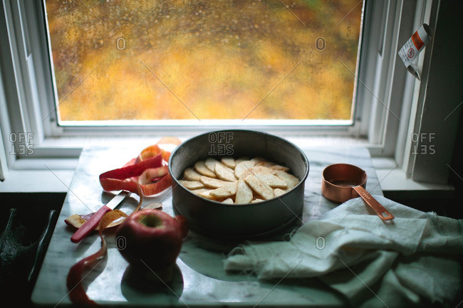 Sliced apples in a sauce pan